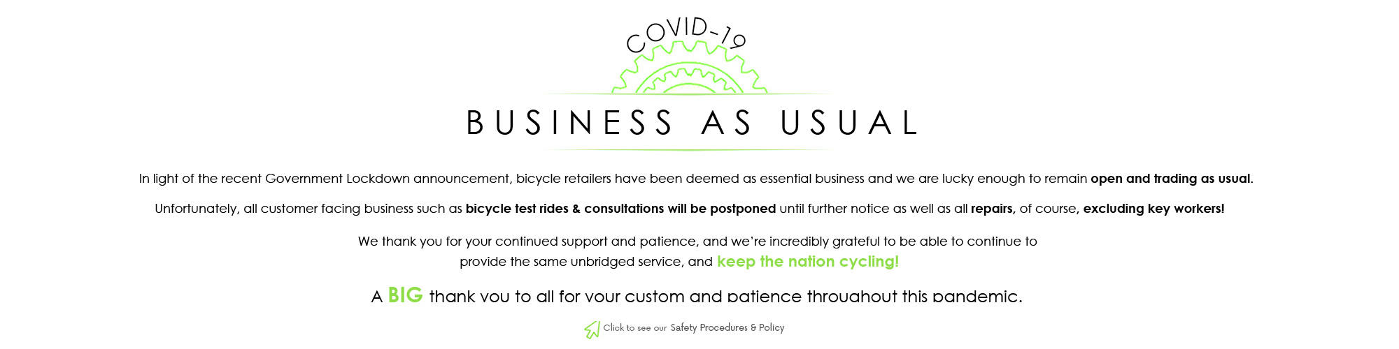 COVID-19 Policy & Poceedures at E-Bikes Direct