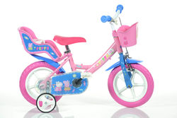 Dino Peppa Pig Pink Girls Bike with Doll Carrier - 12