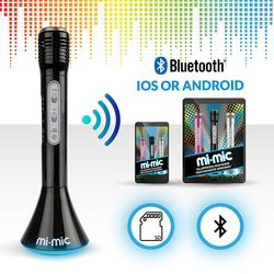 Mi-Mic Karaoke Microphone Speaker with Bluetooth and LED Lights - Black 2 Thumbnail