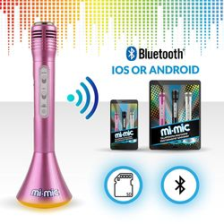 Mi-Mic Karaoke Microphone Speaker with Bluetooth and LED Lights - Pink 2 Thumbnail