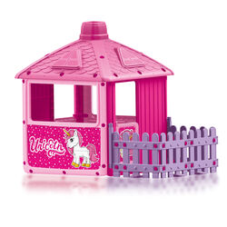Dolu Unicorn City House with Fence Kids Outdoor Playhouse Set - Pink Thumbnail