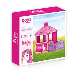 Dolu Unicorn City House with Fence Kids Outdoor Playhouse Set - Pink 1 Thumbnail