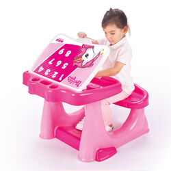 Dolu Unicorn Kids Girls Study Desk Table and Chair Set - Pink Thumbnail