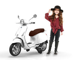 Vespa Primavera Licenced Kids 6v Electric Ride On Retro Moped - White - 3-7yrs 2 Thumbnail