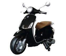 Vespa Primavera Licenced Kids 6v Electric Ride On Retro Moped - Black Thumbnail