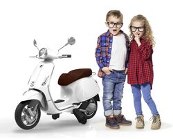 Vespa Primavera Licenced Kids 6v Electric Ride On Retro Moped - White - 3-7yrs Thumbnail
