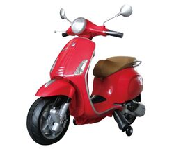 Vespa Primavera Licenced Kids 6v Electric Ride On Retro Moped - Red Thumbnail